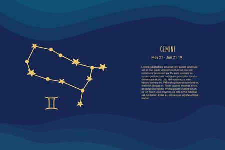 Horoscope background. Gemini sign. Vector horoscope background. Gemini constellations.