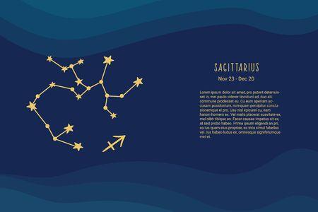 Horoscope background. Sagittarius zodiac sign. Horoscope vector background. Sagittarius constellations