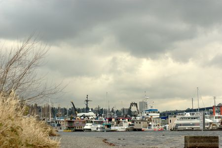 Boats on a lake Stok Fotoğraf