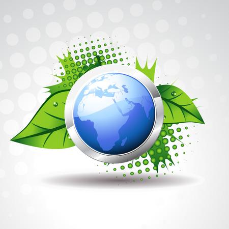 blauwe aarde met groene bladeren rond het