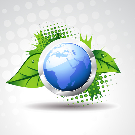 blue  earth with green leaves around it Vector