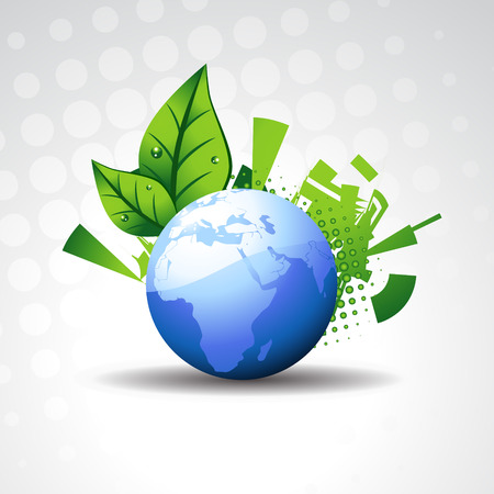 beautiful  earth with leaf on background Illustration