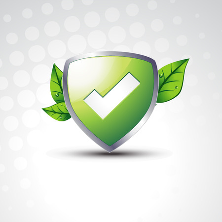 background check: tested  shield with eco leafs Illustration
