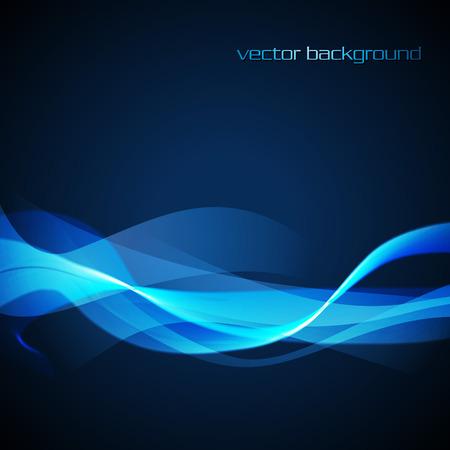 neon glowing wave in blue color Vector