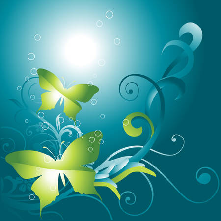 beautiful   butterfly on floral background Vector