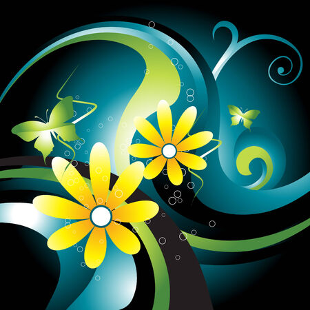beautiful wave with flower and butterfly around it Vector