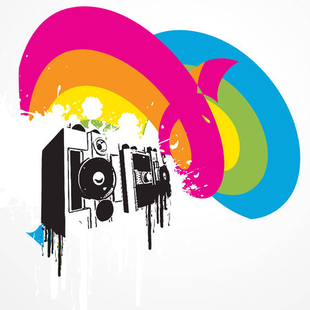 music artwork with colorful background Stock Vector - 7782419
