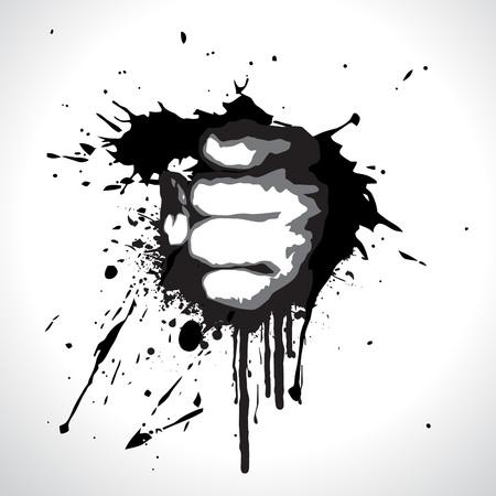 fist on grunge background design Stock Vector - 7782472