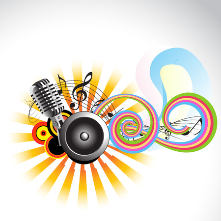 equipo de sonido: Ilustración de diseño de fondo de música