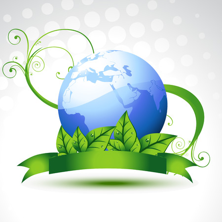save earth: beautiful vector earth with leafs Illustration