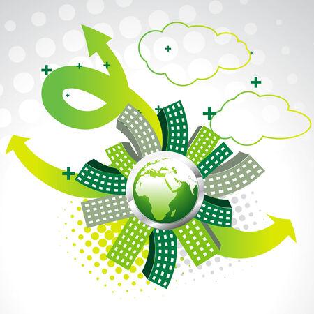 cajas fuertes: Tierra de vector verde con edificios