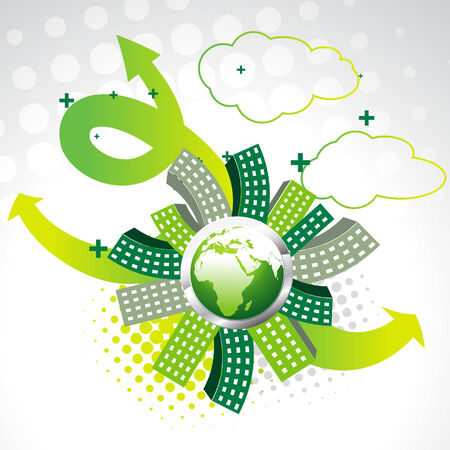 vector green earth with buildings Stock Vector - 8004988