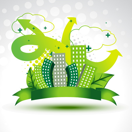 eco building: vector clean green city background Illustration