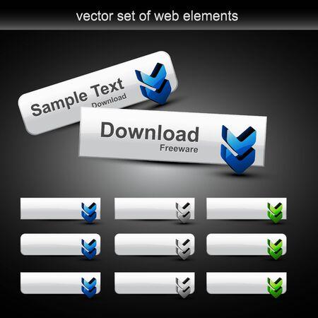 schaalbaar: stijlvol web knoppen met andere stijl. Schaal baar en kan worden gebruikt voor uw projecten  Stock Illustratie