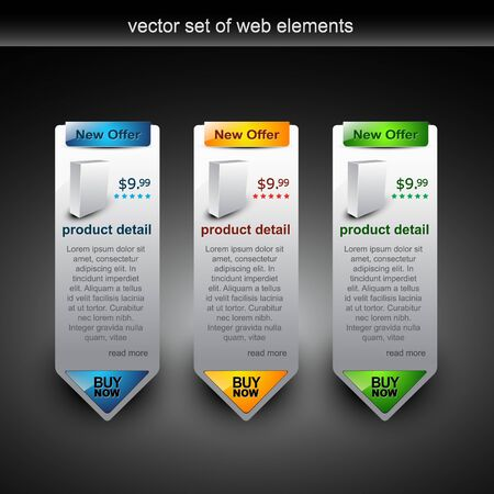 web pages: web style elements with showing product for sale