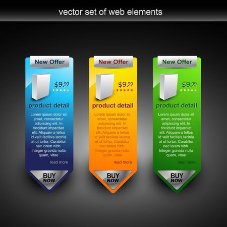 web banner showing products rate with purchase button Vector