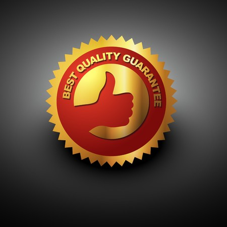 red seal: best quality label in golden color