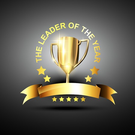 award winning: trophy in golden color in business leading theme Illustration