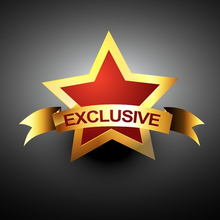 exclusive icon in golden color Stock Vector - 8096541