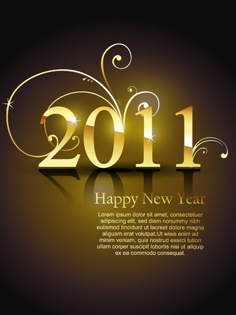 beautiful golden color vector new year design art