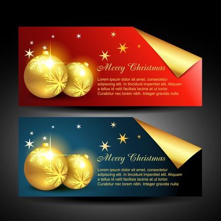 vector stylish christmas balls label design Vector