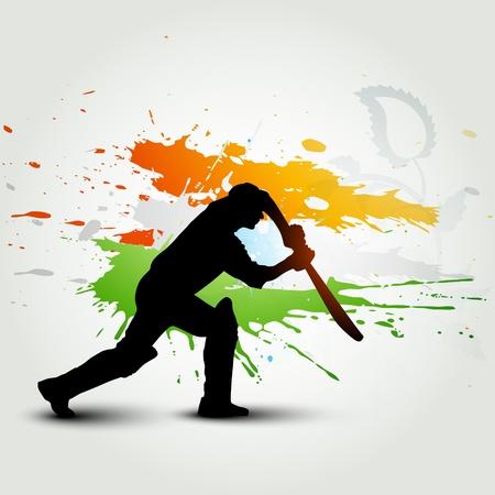 batsman playing cricket Vector