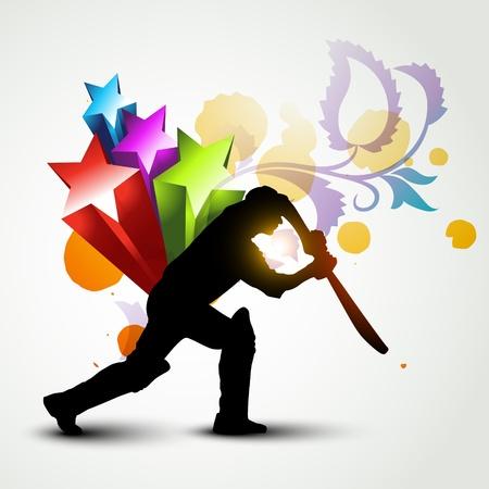 wicket: stylish abstract artwork of cricket batsman hitting ball Illustration