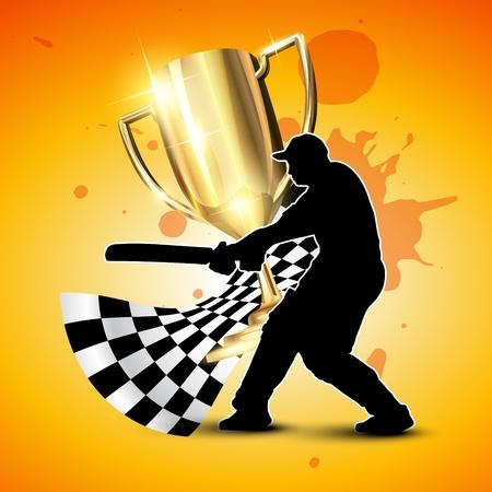 batsman: cricket background with trophy and batsman hitting ball