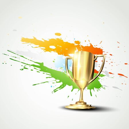 golden trophy on abstract background