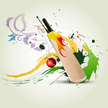 crickets: cricket bat on abstract background Illustration