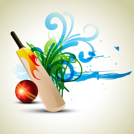 crickets: cricket bat and ball in abstract background