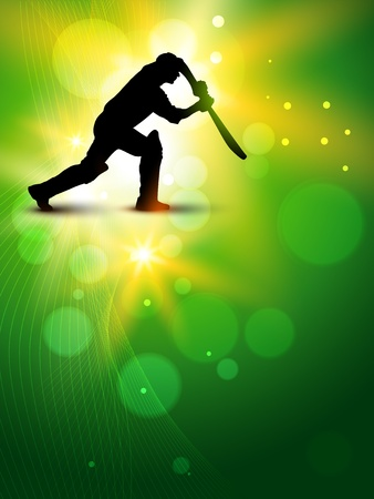 cricket background with batsman hitting ball Vector