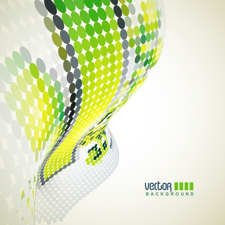 green color dots wave background Stock Vector - 9090657