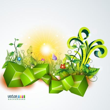 vector beautiful landscape design art Stock Vector - 10081290