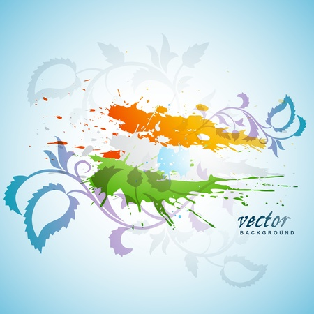 abstract splash indian flag floral background Vector