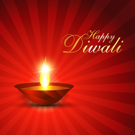 diwali festival diya on red background Vector