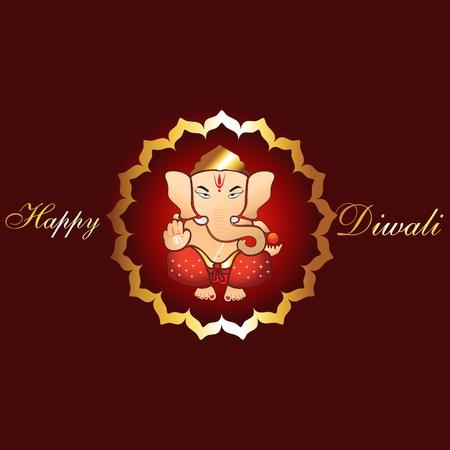 ganesh: красивый духовный индусский праздник Дивали фоне Иллюстрация