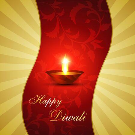 beautiful diwali diya on artistic background Illustration