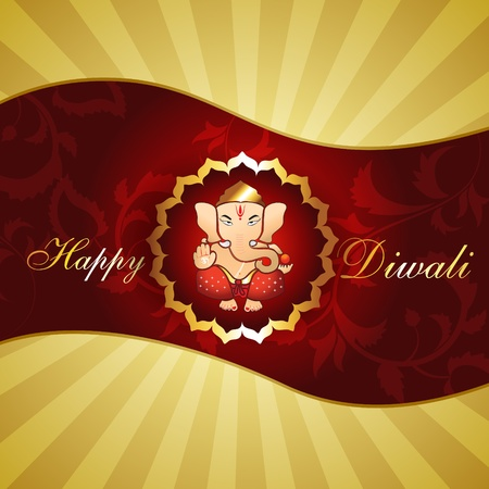 beautiful hindu religion god lord ganesh ji artistic diwali background Vector