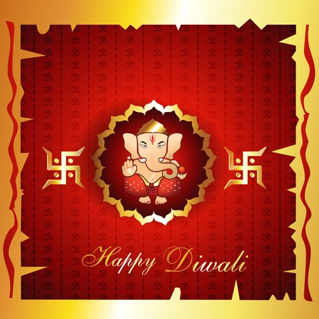 diwali background with lord ganesh Vector