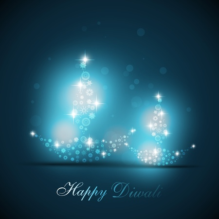 beautiful artistic diya on blue vector background Vector