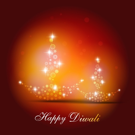 beautiful diwali diya on artistic background Stock Vector - 11004450