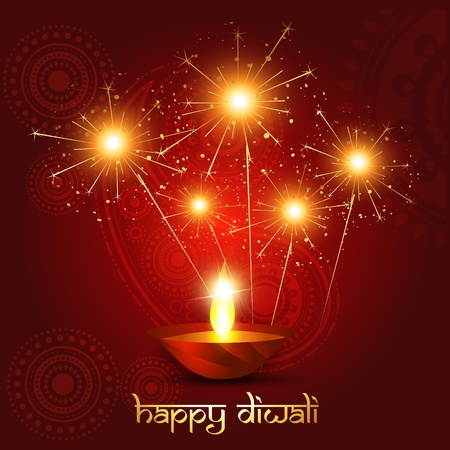 beautiful diwali background with fireworks Vector
