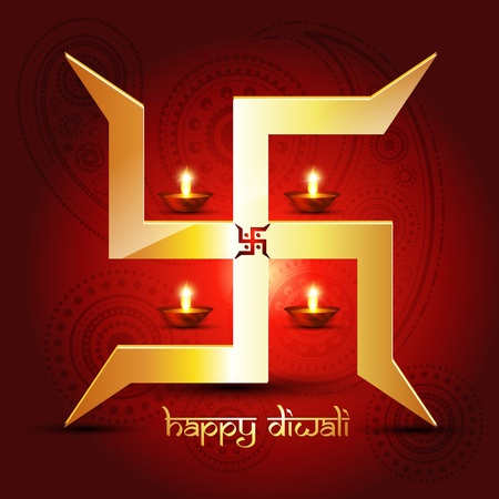 diwali diya with swastik symbol Vector