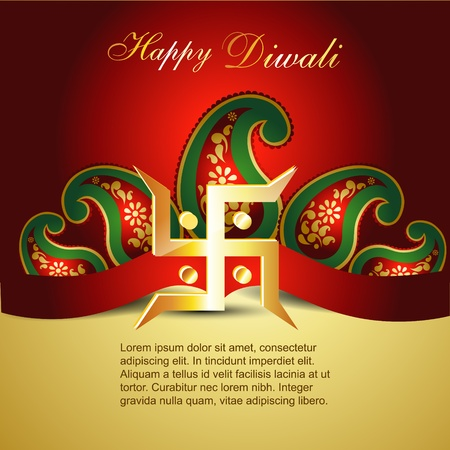 beautiful diwali background with swatik symbol Vector