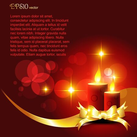 beautiful diwali candle on shiny red background Vector