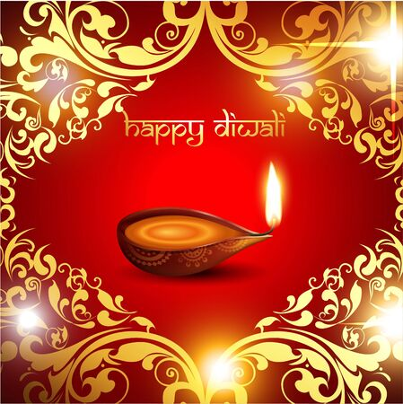 beautiful diwali background with golden florals Vector