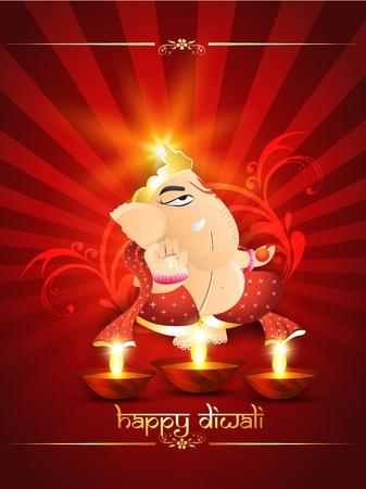 hindu god: dios hind� ganedha sobre fondo rojo hermoso Vectores