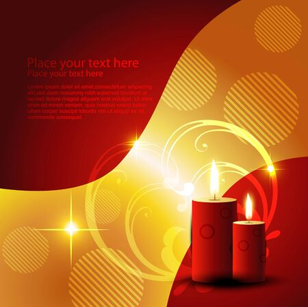 beautiful candle on artistic red background Vector