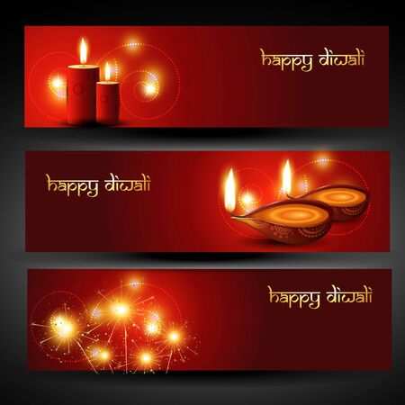 set of three diwali headers Vector